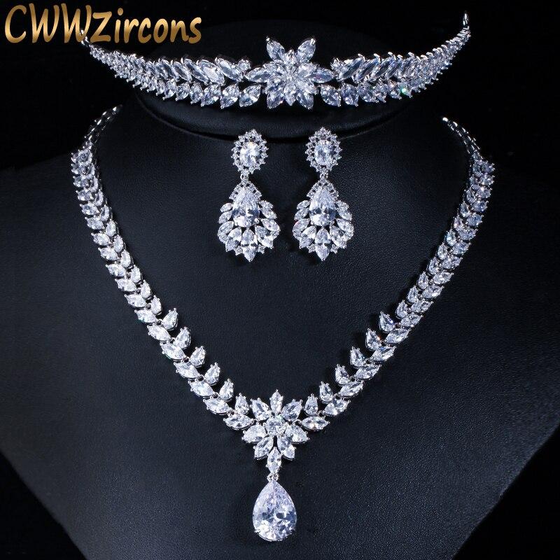 CWWZircons luxe mariage fête cheveux bijoux accessoires cubique zircone collier de mariée boucle d'oreille diadèmes et couronnes ensembles T148