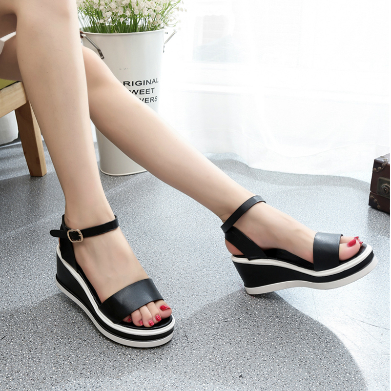 New Casual Zapatillas Mujer Shoes Women 2017 Flats Wedges Platform Summer Women Shoes Sexy Open Toe Buckle Strap Women's Sandals phyanic gold silver wedges sandals 2017 new platform casual shoes woman summer buckle creepers bling flats shoes phy4040