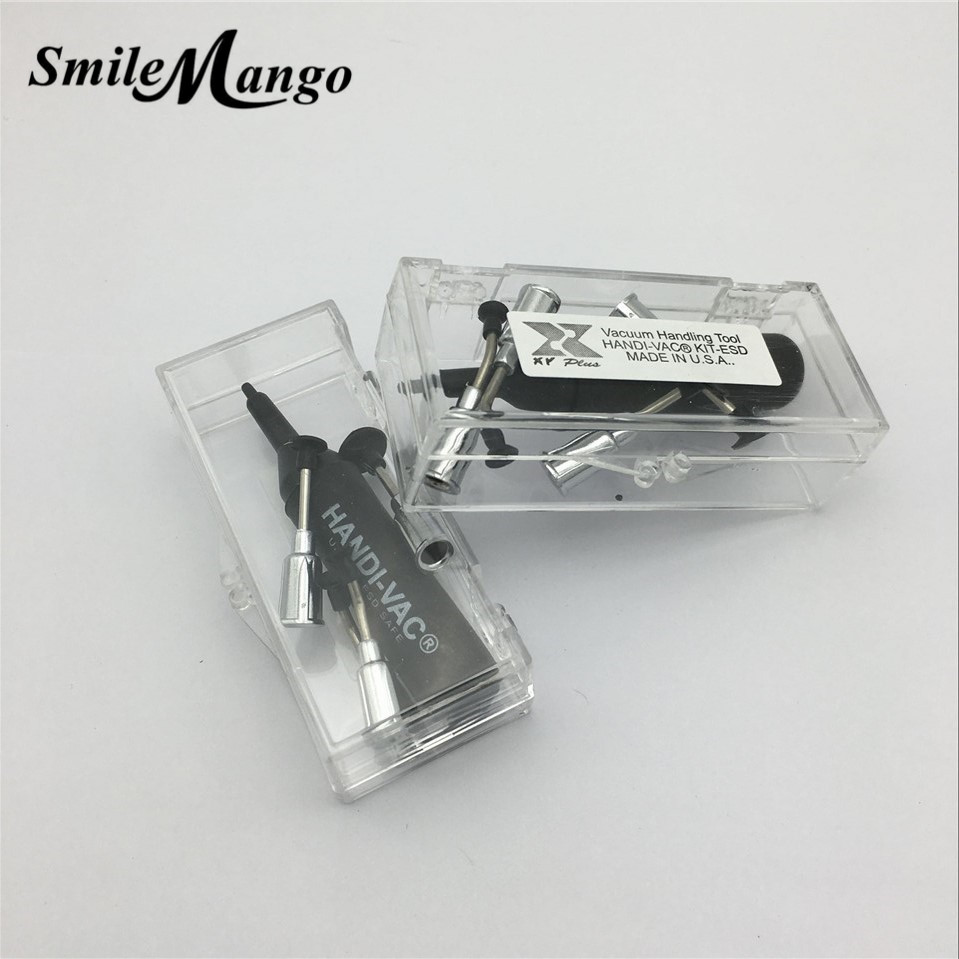 SmileMango Anti-static Mini SMT/ SMD IC Chip BGA Vacuum Pump Suction Pen + 4 different nozzels, Vacuum picker free shipping 2pce handi vac anti static mini smt smd ic chip bga vacuum pump suction pen 8 nozzles vacuum picker