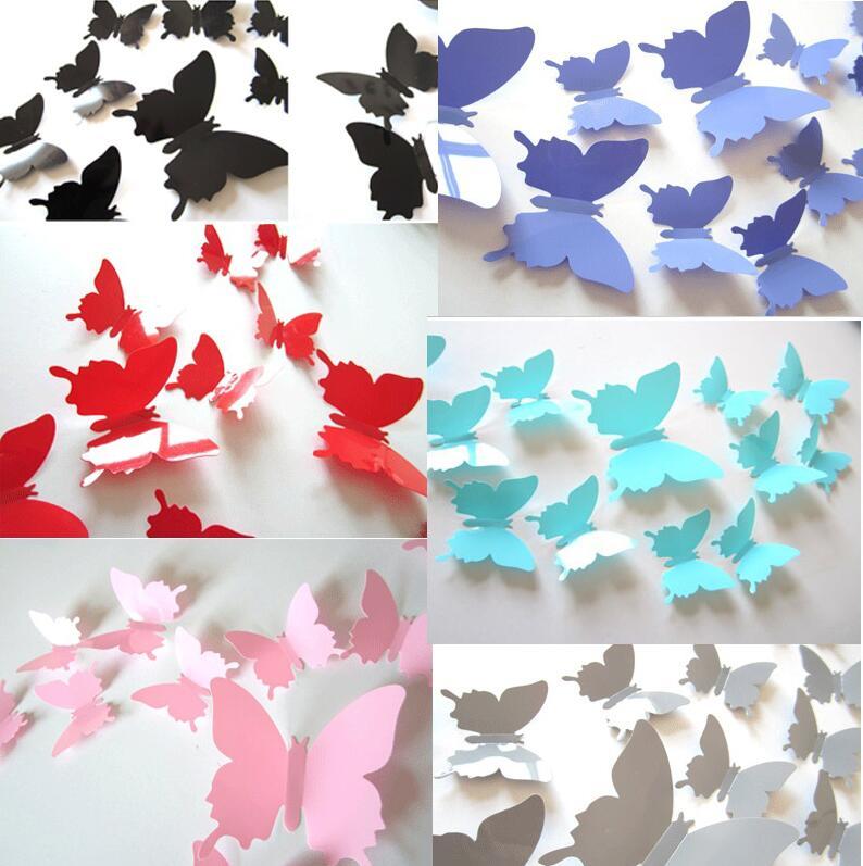 12 unids/set nuevo llega 3d creativo mariposa de la flor de mariposa negro pegat