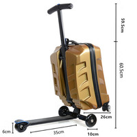 New Fashion British Style Skateboard Rolling Diamond Luggage 21 inch Business Men Trolley Suitcases Bag Student Travel Trunk