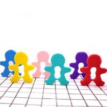 Пряники Man 5pcs / lot Силіконові Teethers Teething Кулонне намисто BPA Безкоштовний силіконовий кулон для DIY Baby Chew Toy