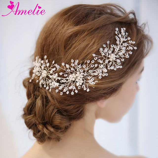 Bridal Gown Hair Accessories Headbands Floating Pearl Bead Cluster