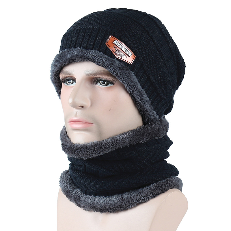 6 Colors Fashion Knitted Hat Scarf Caps Neck Warmer Winter Hats For Men Women Warm Fleece Cap   Skullies     Beanies