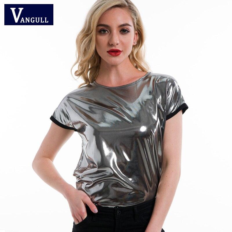 Vangull Femmes Argent T-shirt À Manches Courtes O Cou Régulière Fit T-shirts 2018 Dames Brillant Partie D'été Lâche T tops pour femme