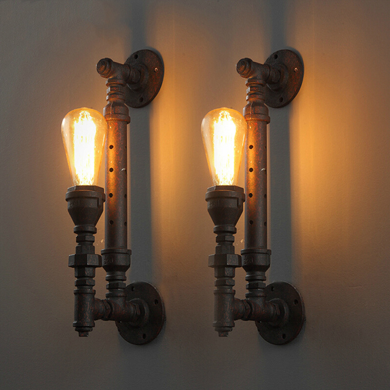 Industrial Style Vintage Iron Pipe Wall Lamp Vintage Aisle Lights loft Metal Wall Lights Lamp Edison Bulbs for Bar Living Room loft american edison vintage industry crystal glass box wall lamp cafe bar coffee shop hall store club