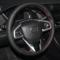 Black Artificial Leather DIY Hand Stitched Steering Wheel Cover For Honda Civic Civic 10 2016