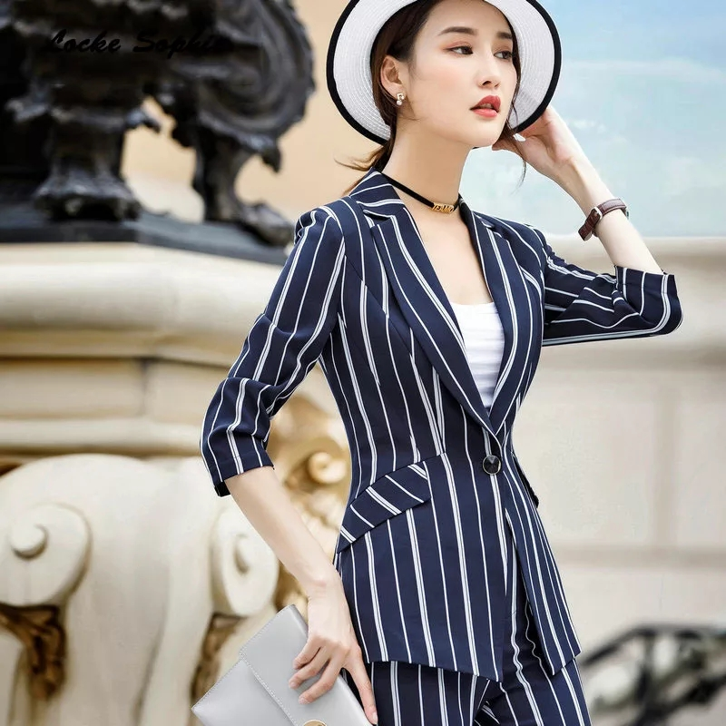 Women Clothes 2019 Autumn Blazer Dress Jacket Set Ladies Formal Suits For Office Wear Special Occasion Occupation Small Suit