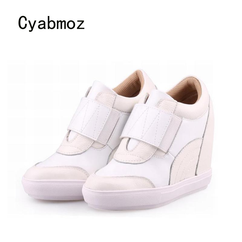 Cyabmoz Genuine leather Wedge Platform High heels Women Shoes Woman Zapatillas deportivas Zapatos mujer Ladies Height increasing цена и фото