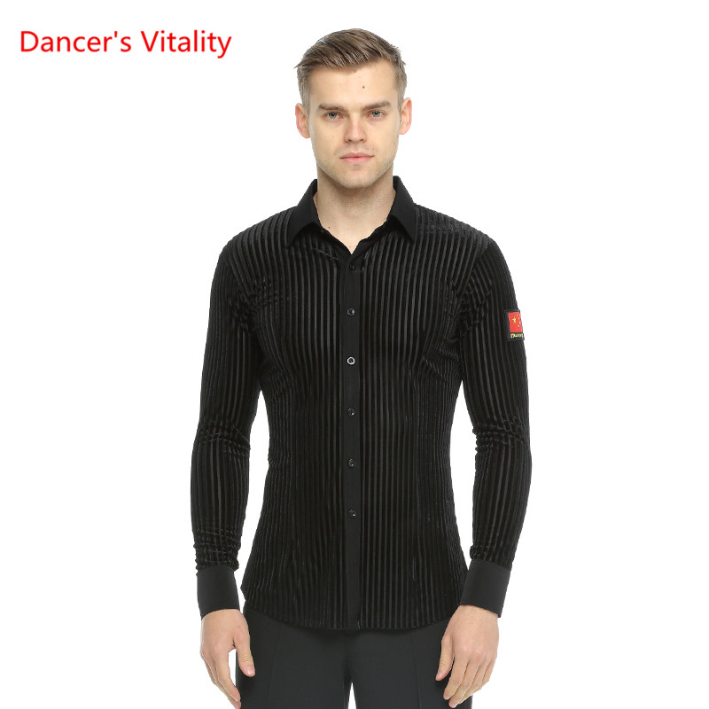 Men's Long Sleeve Stripe Shirt Ballroom Dance Tops Latin/Waltz Dance Costume Leotard Dance Stage Performance/Practice Wear