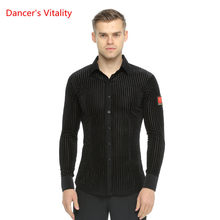 47c8fdf08edee Men's Long Sleeve Stripe Shirt Ballroom Dance tops Latin/Waltz Dance  Costume Leotard Dance Stage Performance/Practice Wear