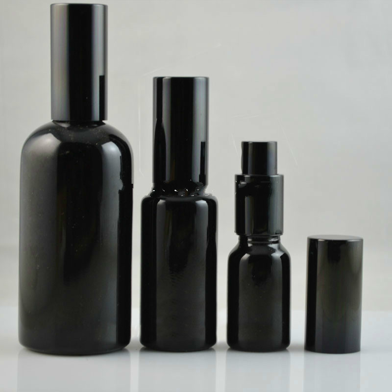 10ML15ML30ML50ML100ML Empty Black Glass Perfume Spray Bottle Elegant Lotion Pump Vial Cosmetic Emulsion Packaging Container 10ml spray glass empty bottles 50pcs cylindrical perfume bottle cosmetic packaging container