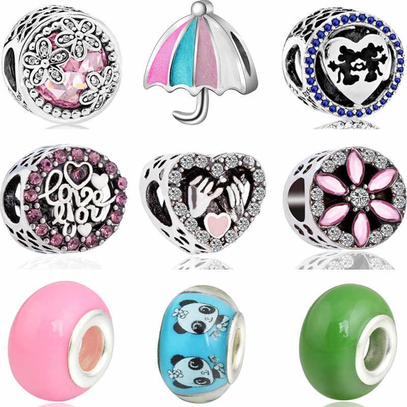 Maxi Pequeño amor corazones Panda paraguas flores cuentas de cristal Ajuste Original Pandora encantos pulseras y brazaletes para las mujeres DIY fabricación