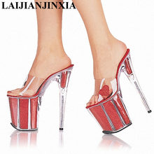 LAIJIANJINXIA Fashion Ultrafine 20cm High-Heeled Shoes Crystal Shoes 8 Inch Platform Core Sexy Stripper Shoes Open Toe Shoes(China)