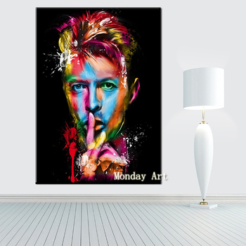 top aritist 100% handpainted Famous Singer oil Painting David Bowie Canvas Art Painting For Living Room Bedroom home Decoration