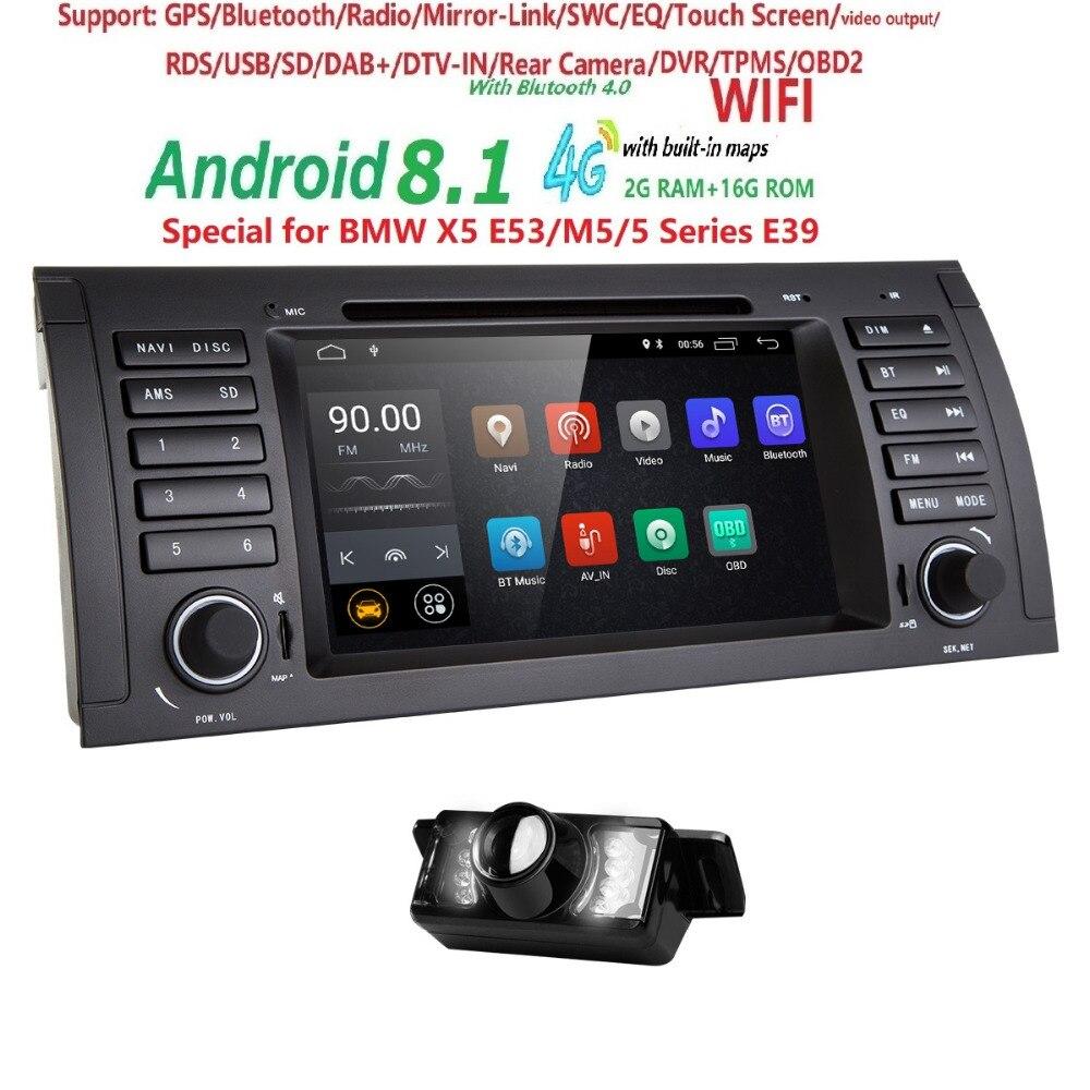 Voiture DVD GPS Lecteur Audio Radio Pour BMW 5 Série X5 E53 E39 M5 Android 8.1 Quad Core Multimédia Tête unité 4X1.6 GHz CPU 2 GB/16 GB