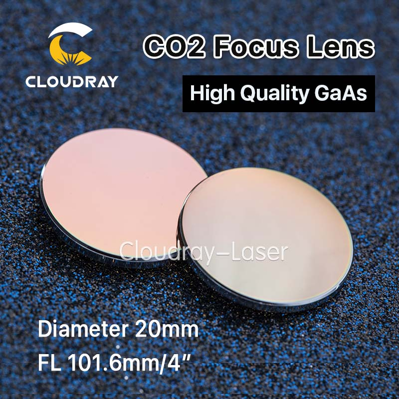 Cloudray GaAs Focus Lens Dia. 20mm FL 101.6mm 4 High Quality for CO2 Laser Engraving Cutting Machine Free Shipping best quality aluminum laser head for co2 laser cutting engraving machine lens dia 20mm fl63 5mm left in beam