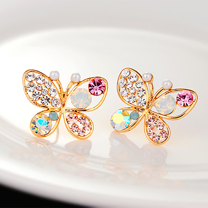 New Fashion luxury hollow brilliant Colorful crystal imitation pearl Gifts butterfly stud earrings