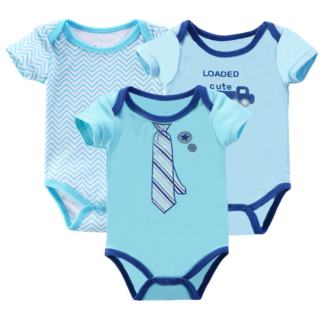 70b8c205f2ee Different Color Summer 0 9 Months Babies Boy Rompers 3Pcs lot Cotton ...