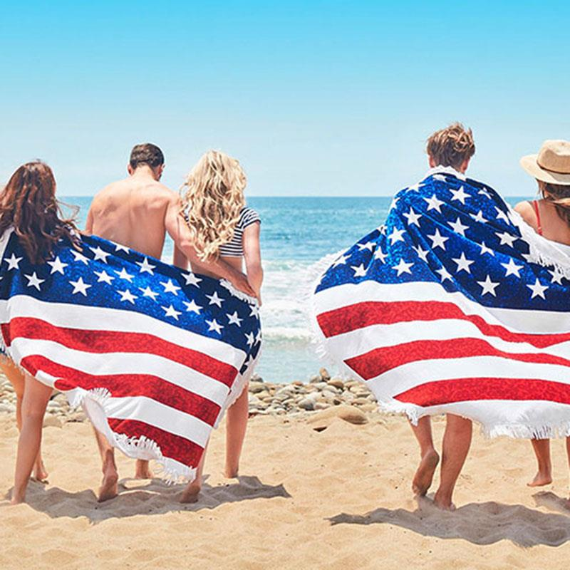 2017 Men Women American Flag Printed Tassel Beach Towel Sun Blanket Male And Female Wraps