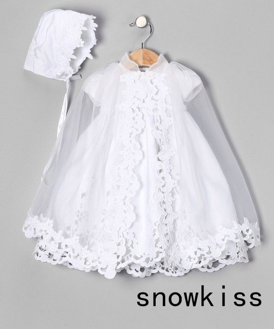 Floor length Floor length Lace appliques Cheap Christening gowns baptism gowns with Bonnet for baby girls boys infant outfit
