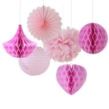 6pcs Pink Shade Party Decoration Set(Honeycomb Ball/Heart/Drop/Pinwheel/Pom Pom)for Birthday Baby Shower Wedding Valentines Day