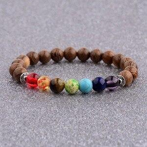 Image 1 - 7 Chakra Prayer Natural Wood Bracelet Men Ethinc Meditation Buddha&Elephant Yoga Bracelet For Women WABJ002