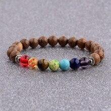 7 чакр, молитвенный браслет из натурального дерева, мужской браслет для медитации, Будды и слона, браслет для йоги для женщин и мужчин, WABJ002