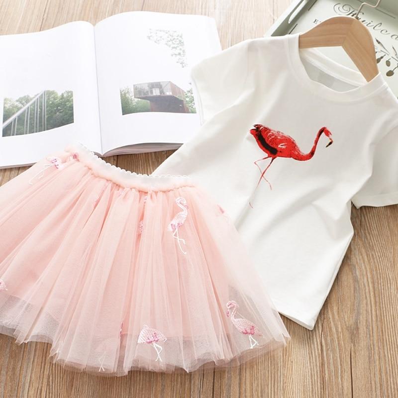 HTB1t6hvUhnaK1RjSZFBq6AW7VXa8 Girls Clothing Sets 2019 Summer Princess Girl Bling Star Flamingo Top + Bling Star Dress 2pcs Set Children Clothing Dresses