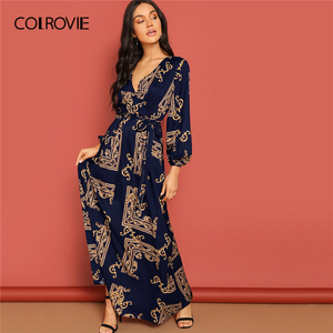 Image 5 - COLROVIE V Neck Scarf Print Belted Wrap Casual Dress Women 2019 Spring Long Sleeve Party Maxi Dress Vacation Ladies Dresses