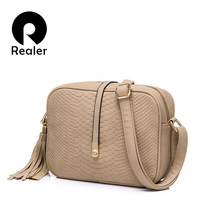 REALER women messenger bags small shoulder bag female tassel handbag purse fashion artificial leather crossbody bag for ladies(China)
