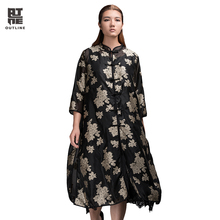 Outline Brand Unique Design Women Shirt Three Quarter Stand Printing Shirt Acrylic Loose Women T-shirt Plus Size Shirt L152Y027