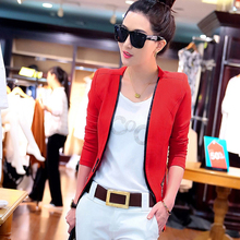 Autumn new Korean POLO collar short paragraph small suit stitching Slim thin wild short coat tide