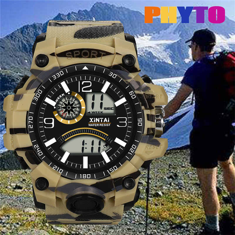 2019 Fashion High-End Multi-Fungsi 30M Olahraga Tahan Air Elektronik Watch Kamuflase Pria Outdoor Sport Wanita jam Tangan Jam