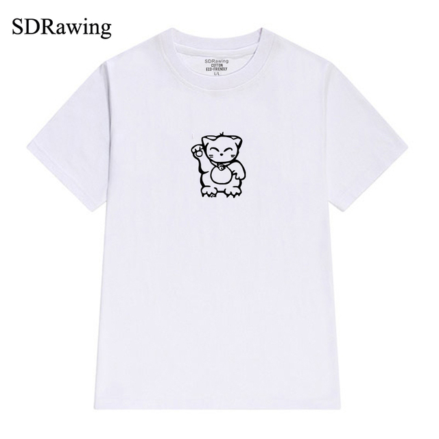 18eae3d3b320 Makenki neko lucky cat t shirt Japanese shop cat with raised paw shirt  kawaii waving Graphic Tees Hipster Tumblr summer tops