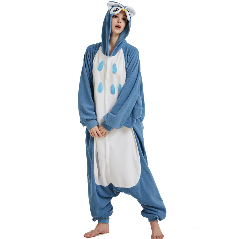 Polar Fleece Blue Owl Onesies For Women Pajamas Kigurumi Batwing Sleeve Long Sleepwear For Halloween Cosplay Parties For Adult (3)