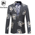 Fire Kirin Floral Blazer Men 2017 4XL 5XL 6XL Luxury Men's Suits Slim Fit Dark Blue Grey Retro Vintage Mens Casual Blazers Q226