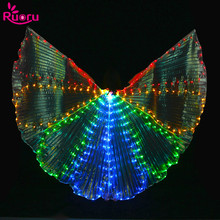 Ruoru Colorful Led Isis Wings with Stick Belly Dance Accessories Stage Performance Props Club Belly Dance Light Up Show Costume club dance 2 cd