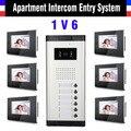 Выбор 2,4, 6,8, 10,12 Единицы Квартира Видео-Телефон Двери Системы 6 Шт 7 Дюймов Монитор Видеодомофон Дверной Звонок Телефон двери