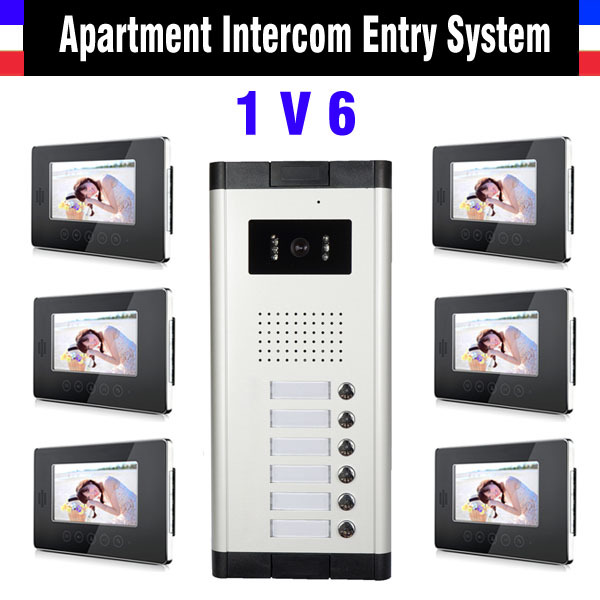 Apartment Video intercom System 6 Units Video Door phone kit 7 Inch Monitor for apartment video interphone apartment intercom system 7 inch monitor 6 units apartment video door phone intercom system video intercom doorbell kit