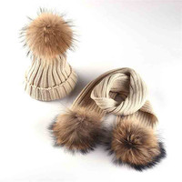 Winter Children Warm Thick Hat Scarf Glove 2pcs Set Knitted Real Fur PomPom Hat Sets Baby