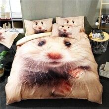 3d動物反応印刷キングサイズ寝具セットハムスターパターンクイーンサイズ布団カバーセット用キッズベッドシーツルーパデカマ