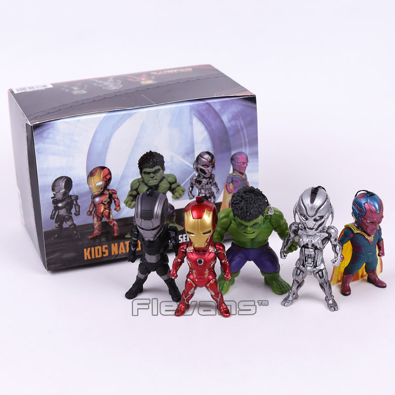 Avengers Age of Ultron Iron Man Hulk Vision Ultron War Machine PVC Action Figures Toys with LED Light 5pcs/set xinduplan marvel shield iron man avengers age of ultron mk45 limited edition human face movable action figure 30cm model 0778