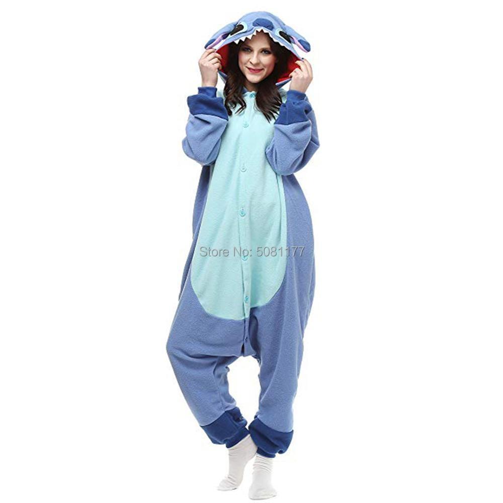 2019 Unisex Adult Onesie Stitch Animal Pajamas Cosplay Costumes Sleepwear Blue Pink One Piece Fleece Homewear