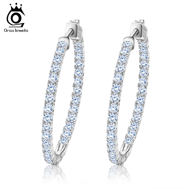 ORSA JEWELS 2019 Silver Color High Polished Hoop Earrings Paved with AAA Austrian Cubic Zirconia for Wedding Party Jewelry OE137