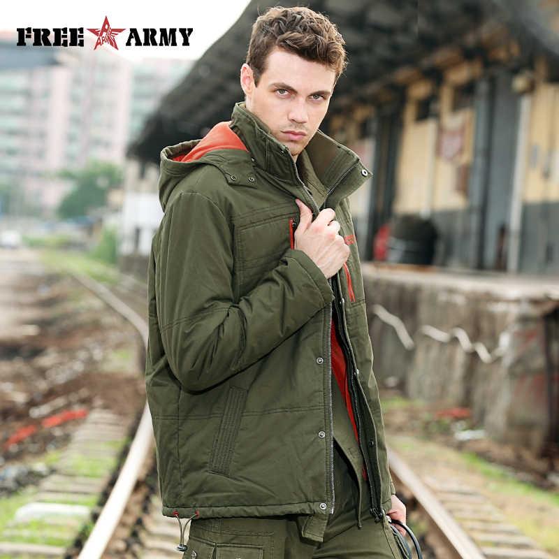 Зимняя куртка мужская Брендовая верхняя одежда хлопковая Теплая стеганая куртка куртки Военная верхняя одежда с бесплатными носками зеленая куртка с капюшоном мужская