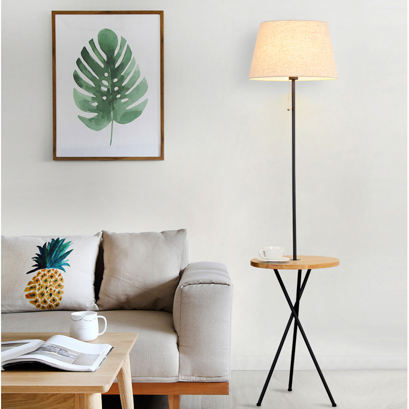 Simple style living room floor lighting bedroom bedside floor lamp practical and practical LED receive cloth art lights lamps chinese cloth floor lamps modern living room bedroom bedside lamp study hotel white decorations lighting floor lights za
