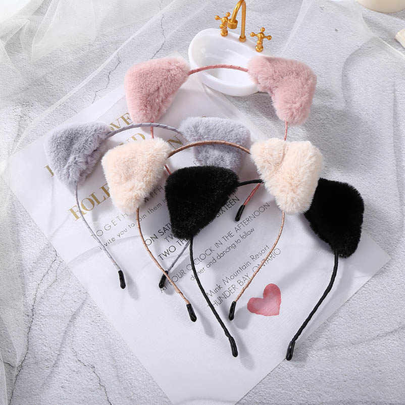 Cute Fluffy Cat Ear Autumn Winter Hairbands Pink Gray Black Beige Triangle Headwear for Kids Girls