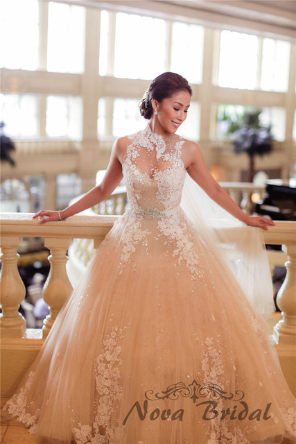 Custom Made 2015 New Fashion High Neck Ball Gown Plus Size Wedding Dress Lace Beading Romantic
