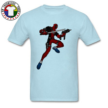 Printed Deadpool Ninja T Shirt Sword and Spear Super Hero Starman Flashman Marvel Tee Shirts 100% Cotton DC Comic